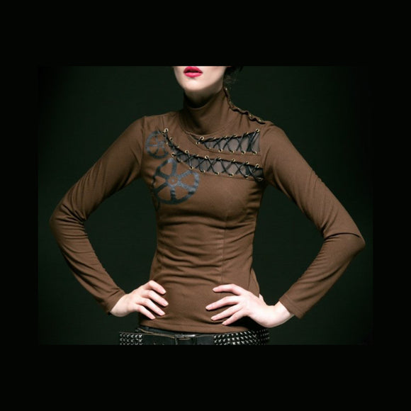 The Gears Brown Steampunk Top by Punk Rave