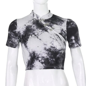 Black and White Tie-Dye Crop Top