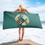 Steampunk Robot on Cell Phone Beach Towel
