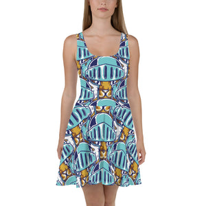 Cat Knight Pattern Skater Dress