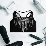 Dreamcatcher Black Padded Sports Bra