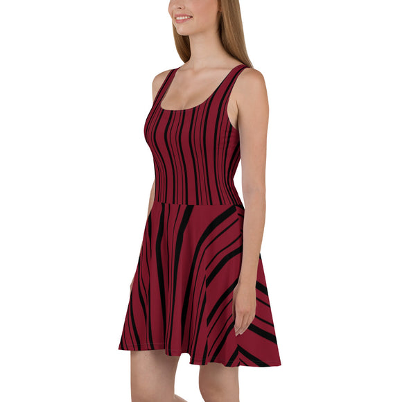 Red and Black Striped Skater Dress