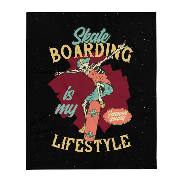 Skateboarding Lifestyle with Skeleton Skater Grunge Throw Blanket