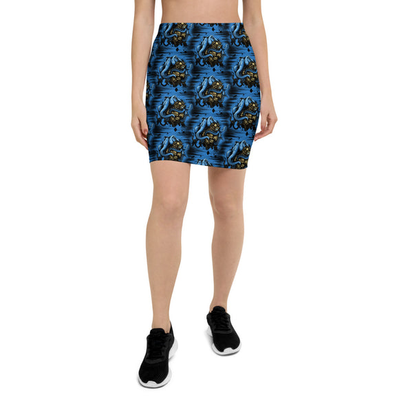 Deep Water Mystery Patterned Pencil Skirt