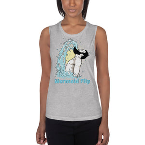 Ladies' Bearded Mermaid Flip Muscle Tank with Customizable Text