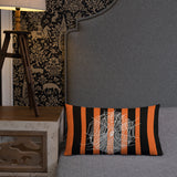 Orange and Black Stripe 20x12 Premium Pillow with Spiderweb