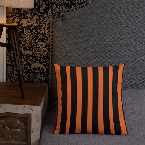Orange and Black Stripe Premium Pillow – 18x18 and 22x22
