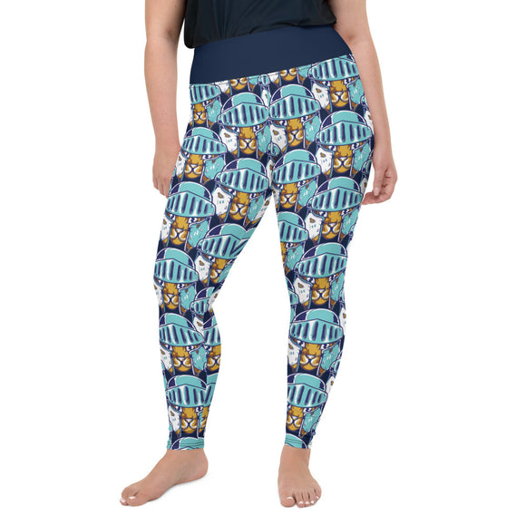 Cat Knight Pattern Print Plus Size Leggings