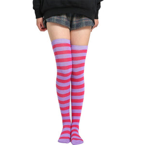 Colorful Striped Above-the-Knee Socks