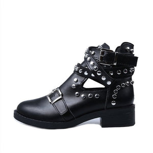 Studded Cut Out Ankle Boots