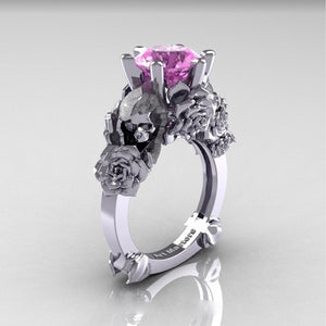 Skull and Rose Ring with Light Pink Solitaire Stone