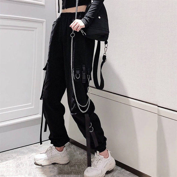 Black Chain Ribbon Joggers