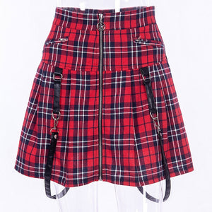 High Waist Punk Plaid Mini-Skirt