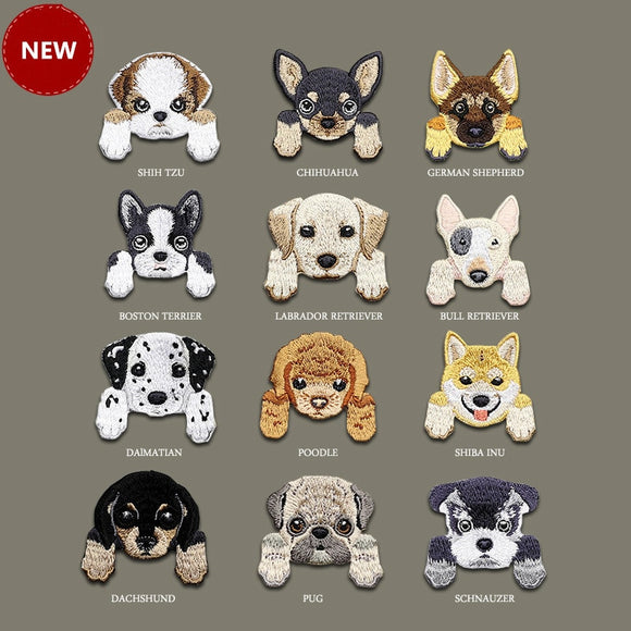 Cute Pupper Face Iron-On Embroidered Patches