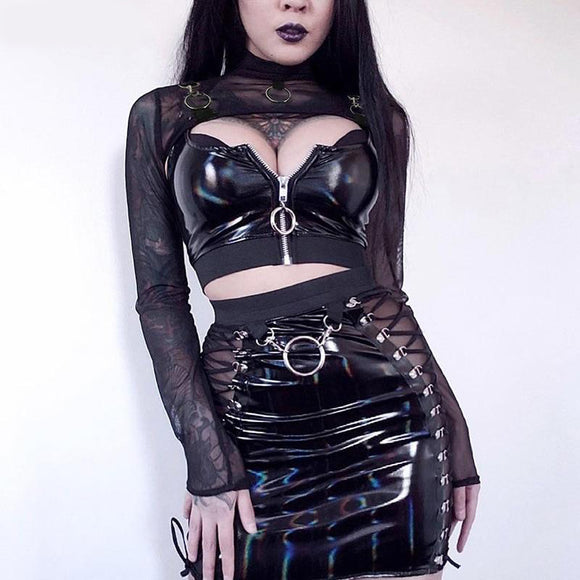 Mesh Metal Ring Harnessed Long Sleeve Super Crop