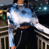 Gothic Punk Long-Sleeve Tie Dye Crop