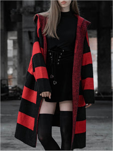 Wednesday Oversized Striped Hooded Cardigan by Punk Rave