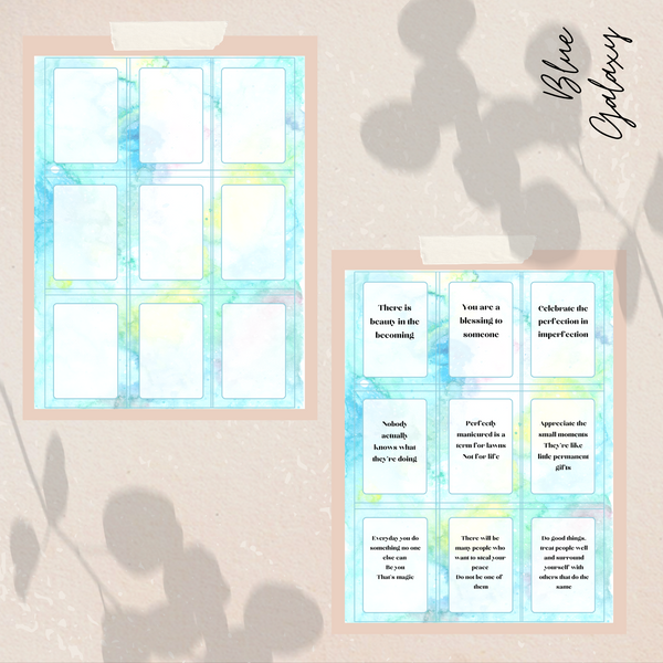 Blue Galaxy Self-Encouragement Cards