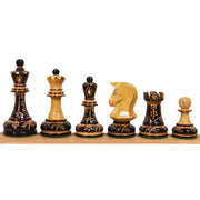 "1970s' Dubrovnik Chess Pieces Only Set - Hand Carved Lacquered Boxwood-3.8"" King"