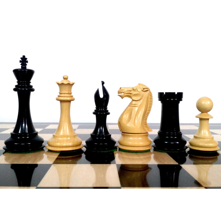 "4"" Sleek Staunton Luxury Chess Pieces Only Set - Triple Weighted Ebony Wood"