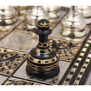 Solid Brass Metal Tribal Artwork Warli Luxury Chess Pieces & Board Set- 12""