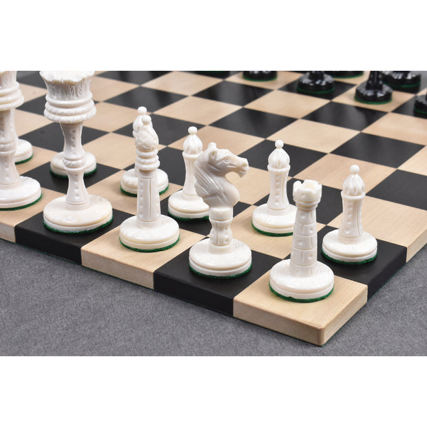3.6″ Victorian Era Pre Staunton Chess Pieces Only Set – Camel Bone