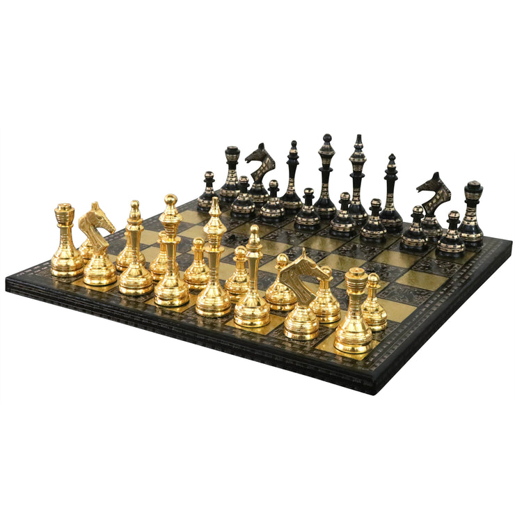 "Soviet Inspired Brass Metal Luxury Chess Pieces & Board Set- 14"" - Black & Gold - Unique Art"