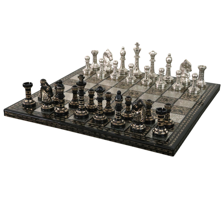 "Classic Staunton Brass Metal Luxury Chess Pieces & Board Set - 12""- Silver and Black"