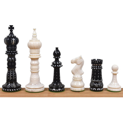 "3.8"" Prime Staunton Chess Pieces Only Set - Burgundy and White Lacquered Boxwood"