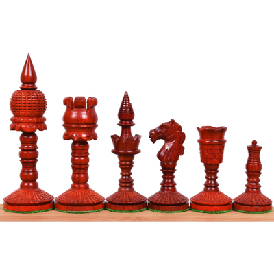 "3.8"" Victorian Era Pre Staunton Chess Pieces Only Set - Weighted Budrose Wood"