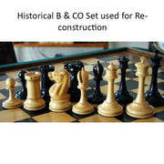 19th century B & Co reproduced Chess Pieces Only set- Genuine Ebony Wood – 4.3″