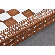 "18"" Solid Sheesham & Acrylic Ivory Inlaid Wooden Folding Chess board-45mm Square"