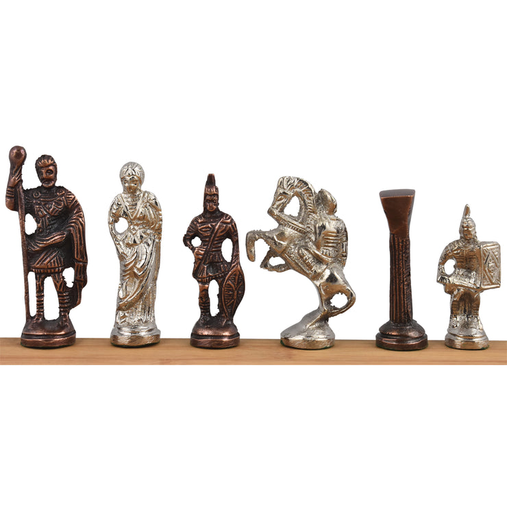 "Roman Brass Metal Luxury Chess Pieces & Board Set - 12"" - Silver & Copper Brown"