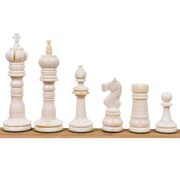 "4.3"" British Series Hand Carved Camel Bone Chess Pieces Only Set-Crimson & White"
