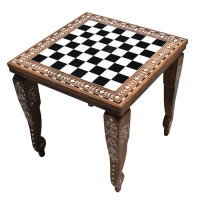 "14"" Library Series Wooden Chess Board Table - Solid Sheesham & Acrylic Ivory"