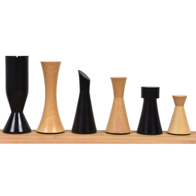 "3.4"" Minimalist Tower Series Chess Pieces Only set- Weighted Ebonised Boxwood"