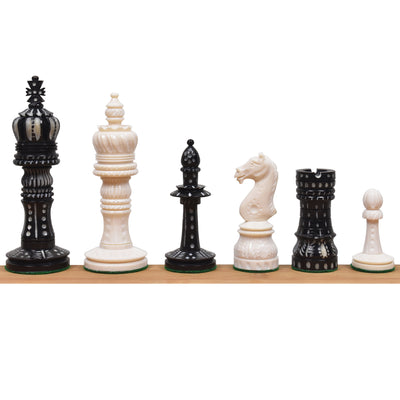 4.1″ New English Hand Carved Camel Bone Chess Pieces Only Set-Black & White