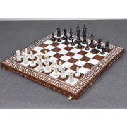 "4.3"" British Series Hand Carved Camel Bone Chess Pieces Only Set - Black & White"