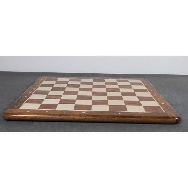 "21"" Flat Chessboard in Rosewood & Maple Wood - 55 mm Square- Algebriaic Notation"