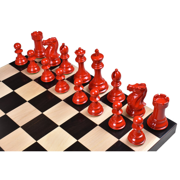 "4.1"" Pro Staunton Weighted Red & White Painted Wooden Chess Pieces Set -4 queens"