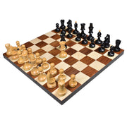 "3.8"" Romanian Hungarian Chess Pieces only set - Weighted Ebonised Boxwood"