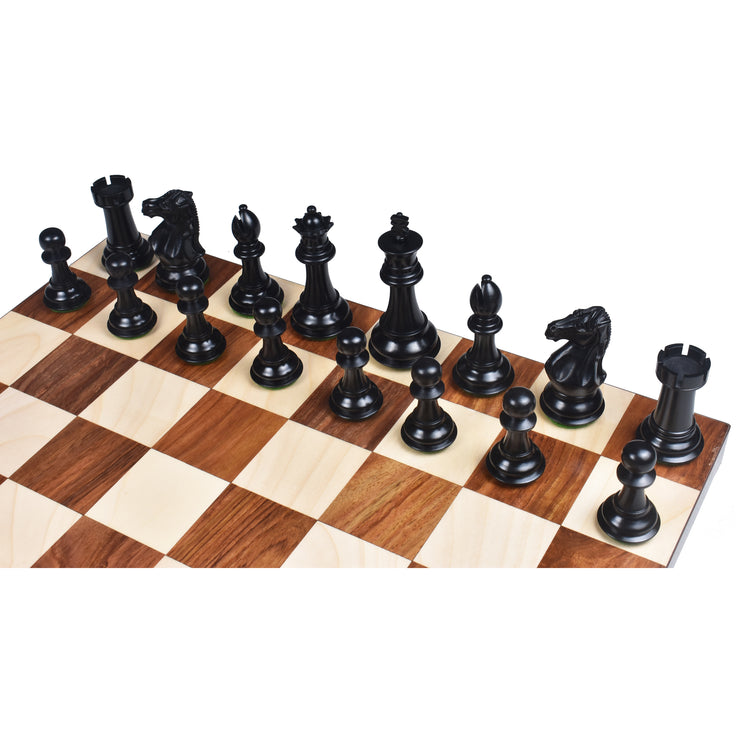 "Deluxe Series Brass Metal Luxury Chess Pieces & Board Set- 15"" -Rosewood border"