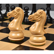 "4.1"" Chamfered Base Staunton Chess Pieces Only set- Untreated Ebony Wood"
