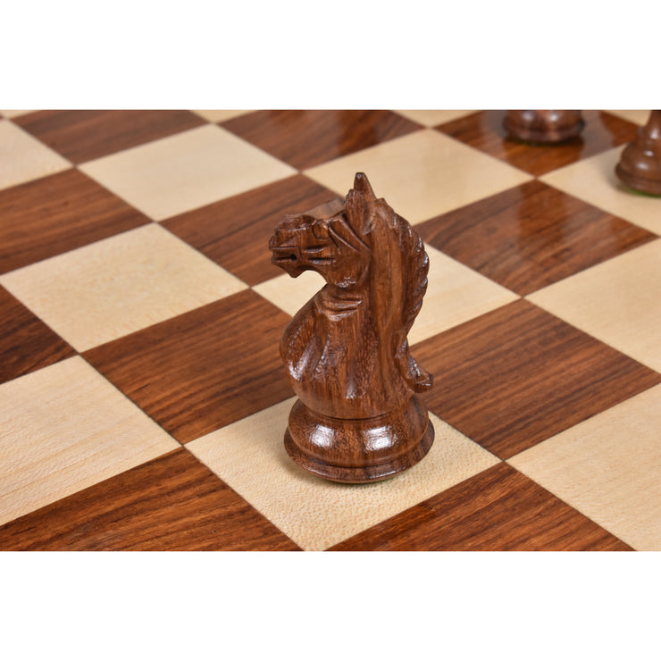 "3.5"" Fierce Knight Staunton Chess Pieces Only set - Weighted Golden Rosewood"