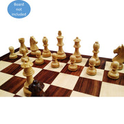 "3.9"" Tournament Wooden Chess Pieces Set - Golden Rose wood - Extra Queens"