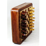 "Magnetic Travel Chess set with Drawer 5"" Golden Rosewood Sheesham wood"
