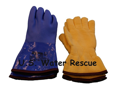 Blue pvc Drysuit Glove with Liner