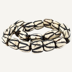 Diagonal Stripe Bone Beads