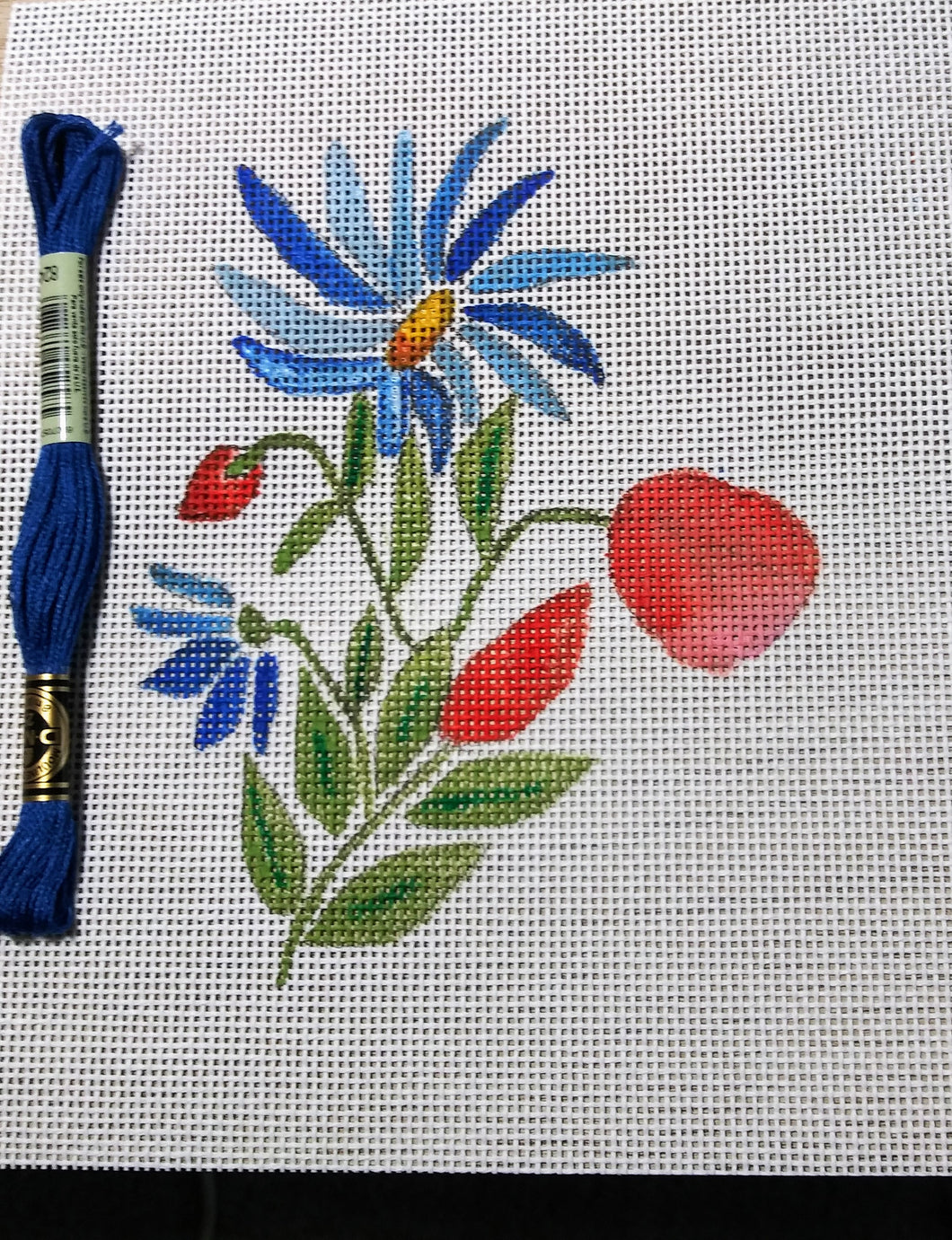 Blue Daisies- Handpainted Needlepoint Canvas