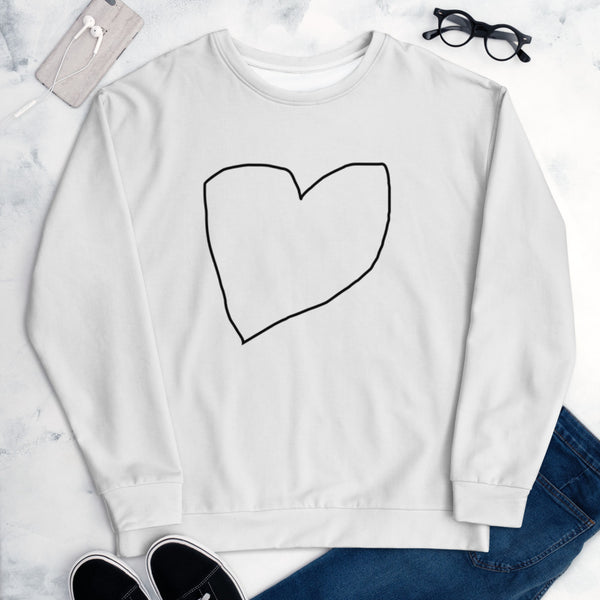 Limited edition Valentines monochrome heart unisex sweatshirt